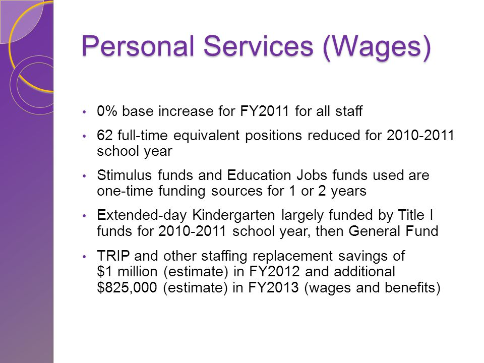 Personal Services (Wages) 0% base increase for FY2011 for all staff 62 full-time equivalent positions reduced for 2010-2011 school year Stimulus funds and Education Jobs funds used are one-time funding sources for 1 or 2 years Extended-day Kindergarten largely funded by Title I funds for 2010-2011 school year, then General Fund TRIP and other staffing replacement savings of $1 million (estimate) in FY2012 and additional $825,000 (estimate) in FY2013 (wages and benefits)