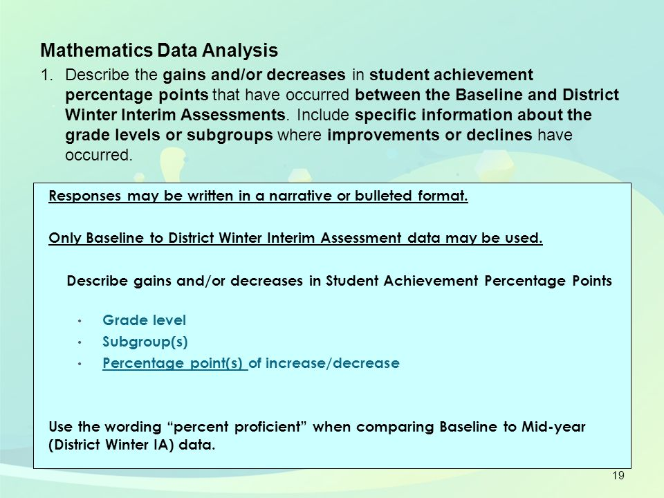 Responses may be written in a narrative or bulleted format. Only Baseline to District Winter Interim Assessment data may be used. Describe gains and/o