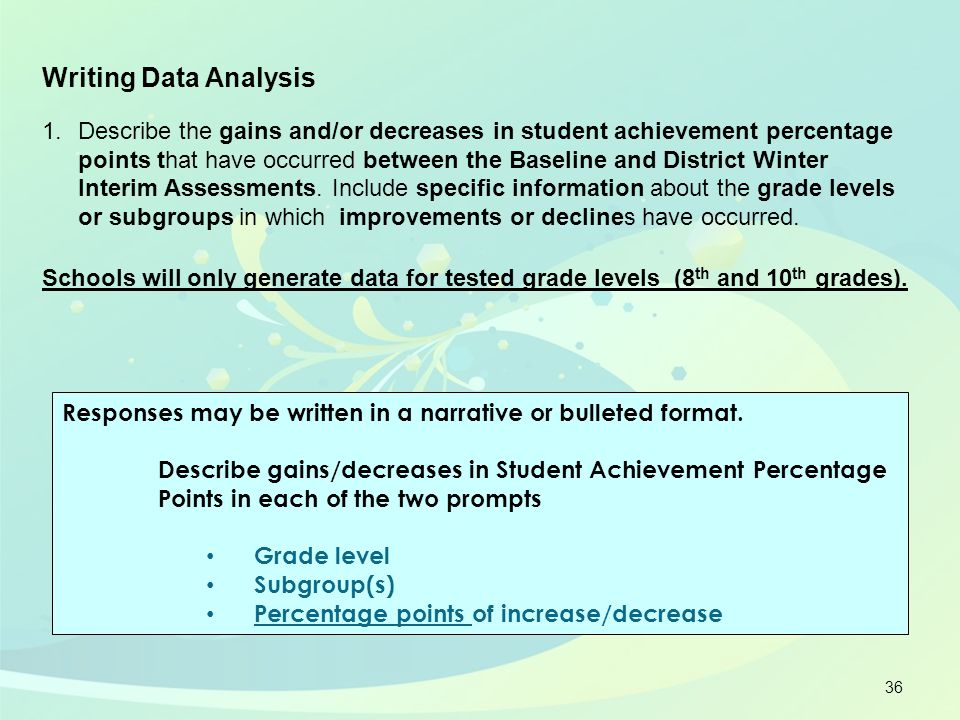 36 Writing Data Analysis 1.Describe the gains and/or decreases in student achievement percentage points that have occurred between the Baseline and Di