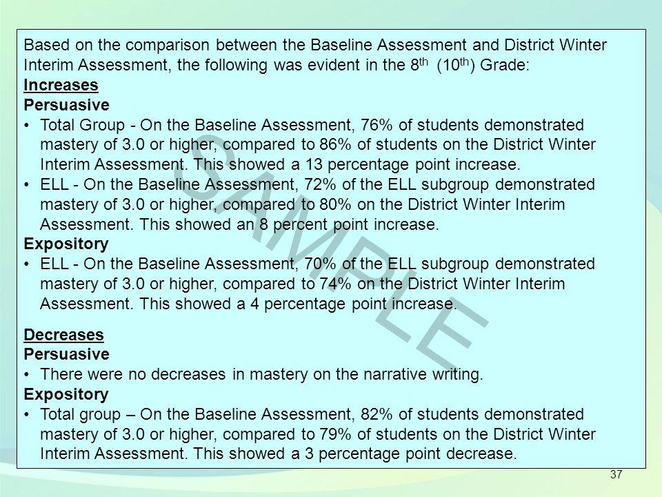 37 Based on the comparison between the Baseline Assessment and District Winter Interim Assessment, the following was evident in the 8 th (10 th ) Grad