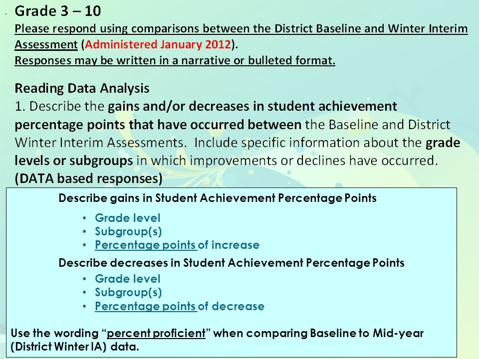 8 When comparing the Baseline Assessment to the District Winter Interim Assessment, data indicates that there has been an increase in student achievement percentage points in grades 6-8.
