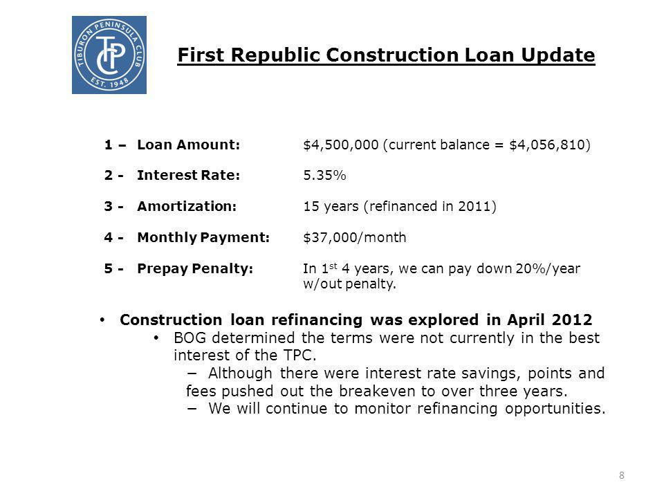 First Republic Construction Loan Update 1 – Loan Amount:$4,500,000 (current balance = $4,056,810) 2 - Interest Rate:5.35% 3 -Amortization:15 years (re