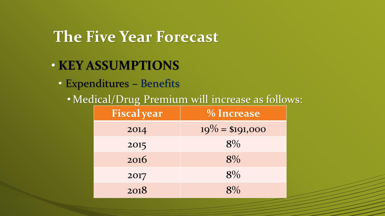 The Five Year Forecast KEY ASSUMPTIONS KEY ASSUMPTIONS Expenditures – Benefits Expenditures – Benefits Medical/Drug Premium will increase as follows: Medical/Drug Premium will increase as follows: Fiscal year% Increase 201419% = $191,000 20158% 20168% 20178% 20188%