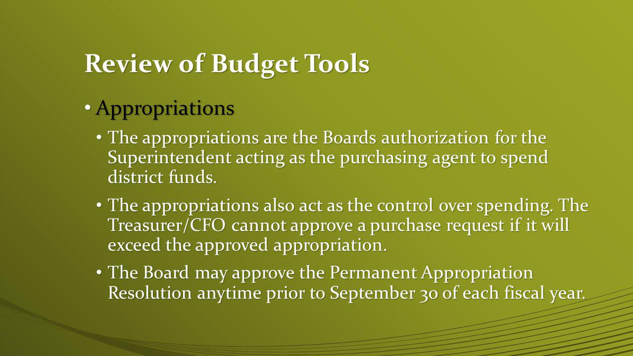 Review of Budget Tools Spending plan Spending plan The Spending plan is not a required budget tool per ORC The Spending plan is not a required budget tool per ORC The Spending plan is a monitoring tool provided to the Board of Ed.