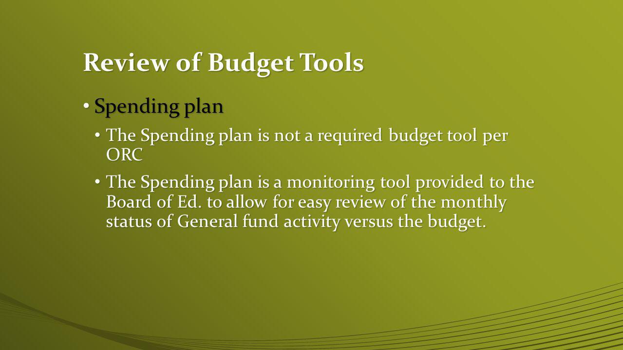 Review of Budget Tools Spending plan Spending plan
