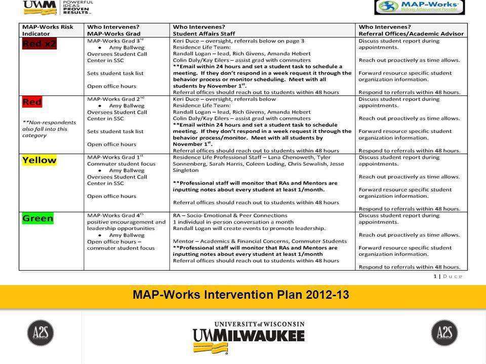 MAP-Works Intervention Plan 2012-13
