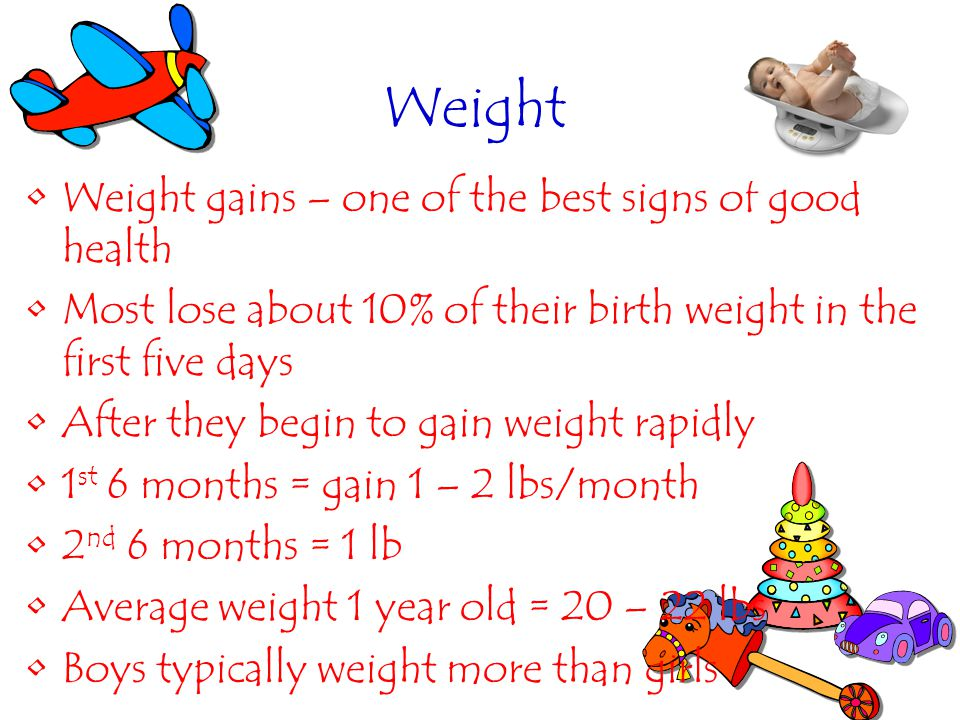 Weight Weight gains – one of the best signs of good health Most lose about 10% of their birth weight in the first five days After they begin to gain w