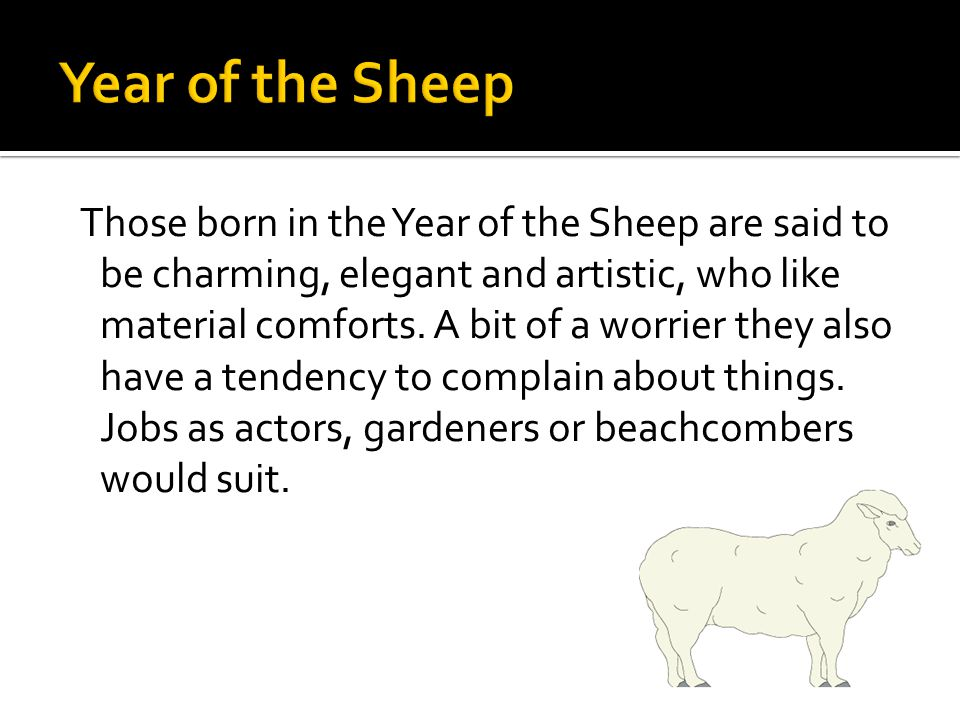 Those born in the Year of the Sheep are said to be charming, elegant and artistic, who like material comforts.