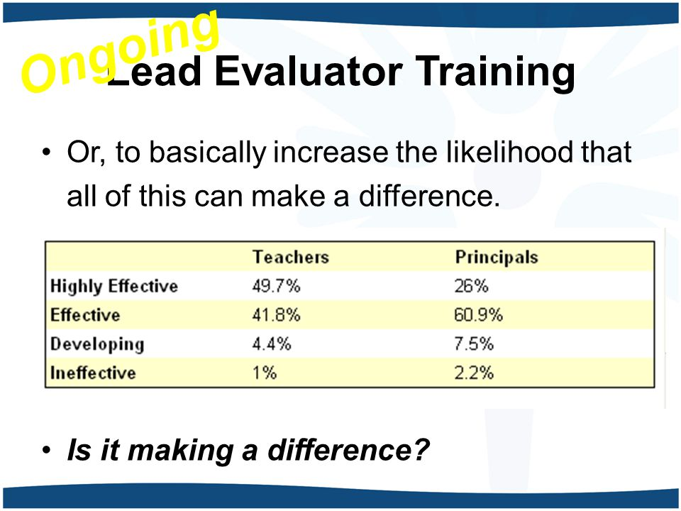 Lead Evaluator Training Or, to basically increase the likelihood that all of this can make a difference.