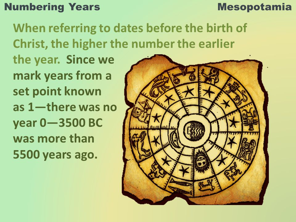 Numbering Years Mesopotamia When referring to dates before the birth of Christ, the higher the number the earlier the year.