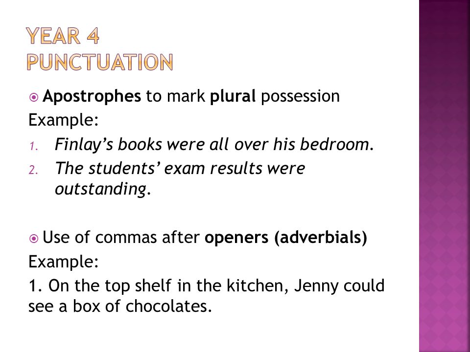 Apostrophes to mark plural possession Example: 1.Finlays books were all over his bedroom.