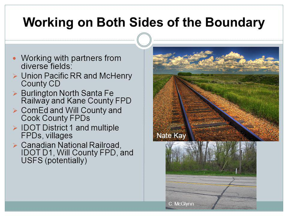 Working on Both Sides of the Boundary Working with partners from diverse fields: Union Pacific RR and McHenry County CD Burlington North Santa Fe Rail