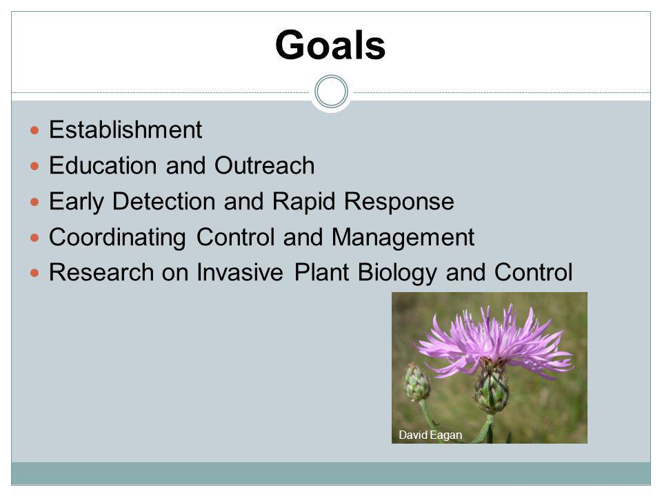 Goals Establishment Education and Outreach Early Detection and Rapid Response Coordinating Control and Management Research on Invasive Plant Biology a