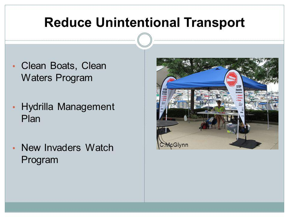 Reduce Unintentional Transport Clean Boats, Clean Waters Program Hydrilla Management Plan New Invaders Watch Program C.McGlynn