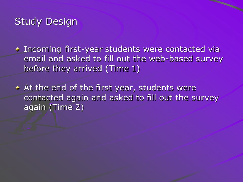 Study Design Incoming first-year students were contacted via email and asked to fill out the web-based survey before they arrived (Time 1) At the end of the first year, students were contacted again and asked to fill out the survey again (Time 2)