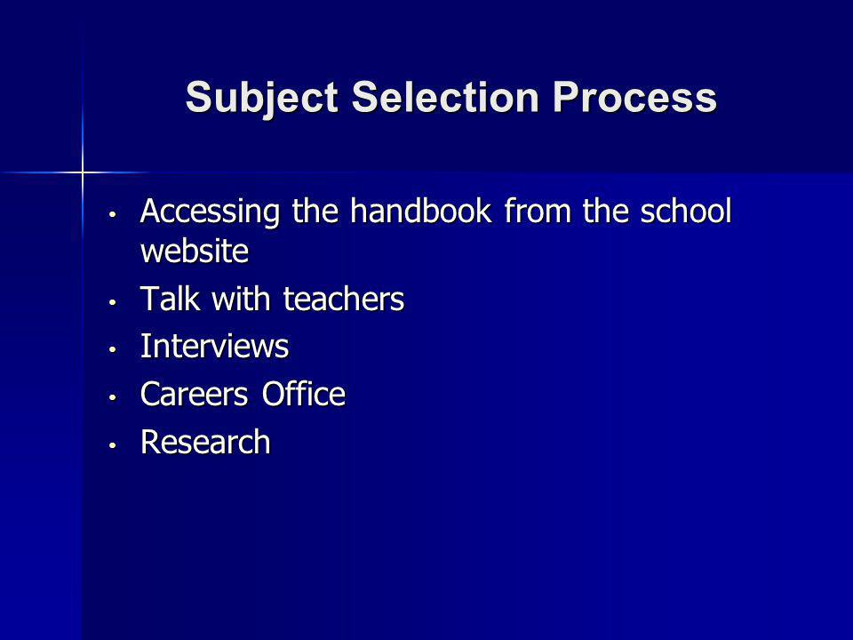 Subject Selection Process Accessing the handbook from the school website Accessing the handbook from the school website Talk with teachers Talk with teachers Interviews Interviews Careers Office Careers Office Research Research