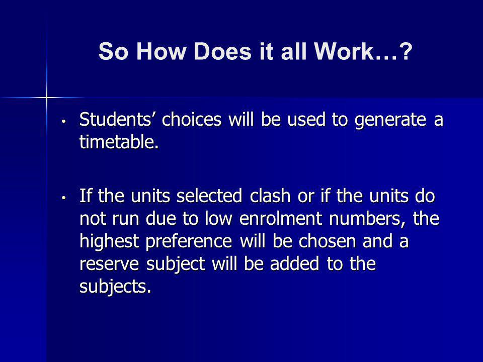 So How Does it all Work…? Students choices will be used to generate a timetable. Students choices will be used to generate a timetable. If the units s
