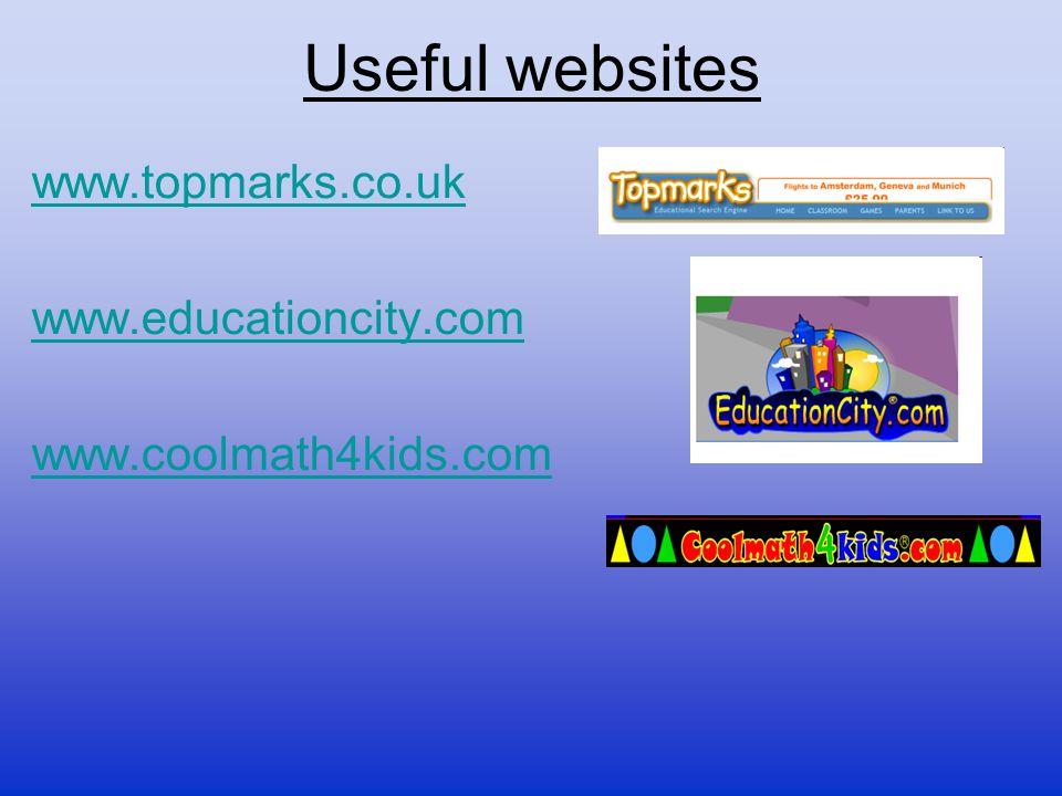Useful websites www.topmarks.co.uk www.educationcity.com www.coolmath4kids.com