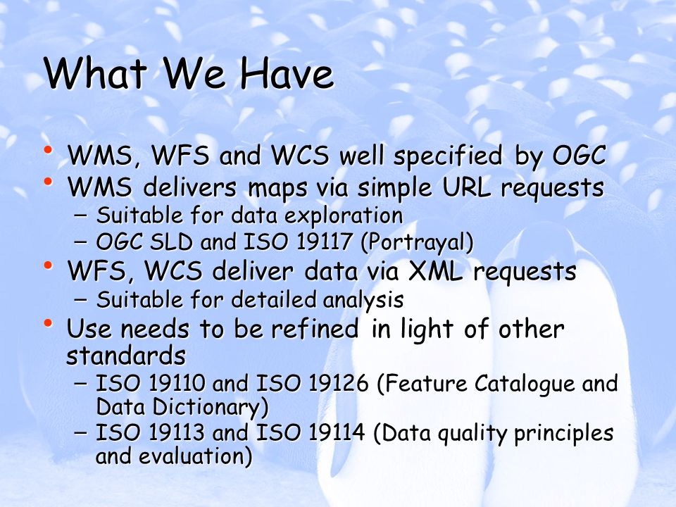 What We Have WMS, WFS and WCS well specified by OGC WMS, WFS and WCS well specified by OGC WMS delivers maps via simple URL requests WMS delivers maps via simple URL requests – Suitable for data exploration – OGC SLD and ISO 19117 (Portrayal) WFS, WCS deliver data via XML requests WFS, WCS deliver data via XML requests – Suitable for detailed analysis Use needs to be refined in light of other standards Use needs to be refined in light of other standards – ISO 19110 and ISO 19126 (Feature Catalogue and Data Dictionary) – ISO 19113 and ISO 19114 (Data quality principles and evaluation)