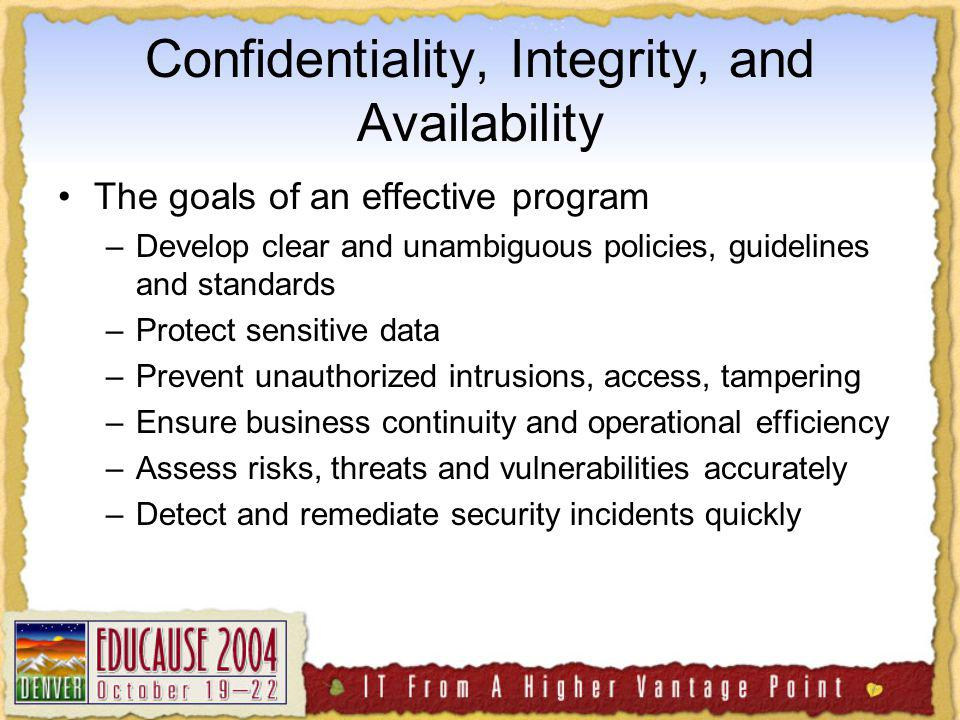 Confidentiality, Integrity, and Availability The goals of an effective program –Develop clear and unambiguous policies, guidelines and standards –Protect sensitive data –Prevent unauthorized intrusions, access, tampering –Ensure business continuity and operational efficiency –Assess risks, threats and vulnerabilities accurately –Detect and remediate security incidents quickly