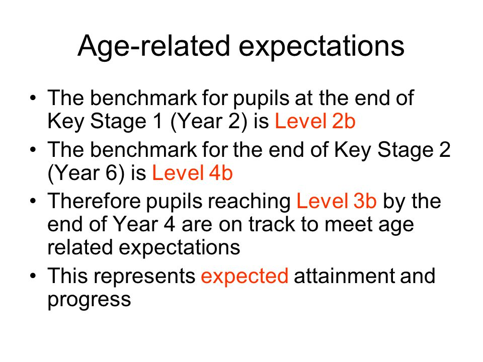 Age-related expectations The benchmark for pupils at the end of Key Stage 1 (Year 2) is Level 2b The benchmark for the end of Key Stage 2 (Year 6) is Level 4b Therefore pupils reaching Level 3b by the end of Year 4 are on track to meet age related expectations This represents expected attainment and progress