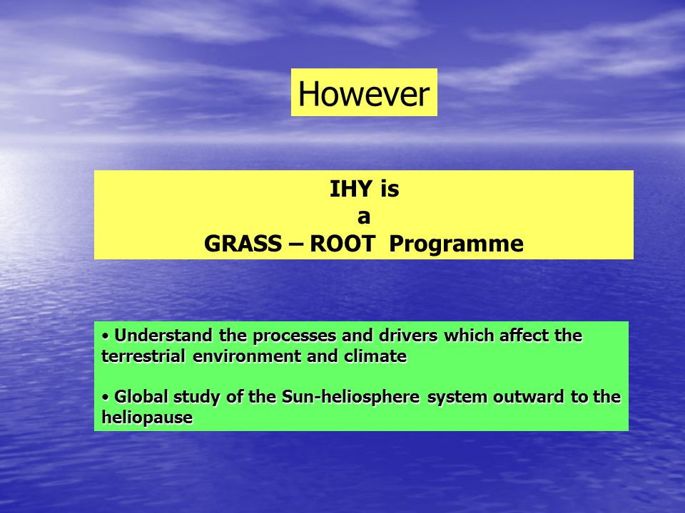 IHY: International Organization Joe Davila (Executive director) Roger M. Bonet