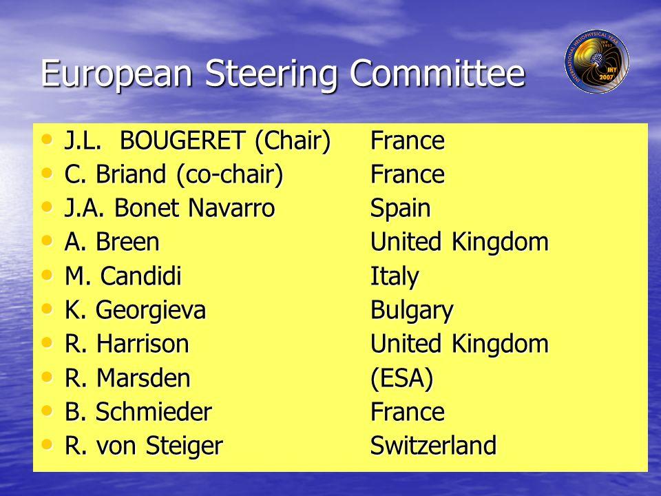 European Steering Committee J.L. BOUGERET (Chair) France J.L.