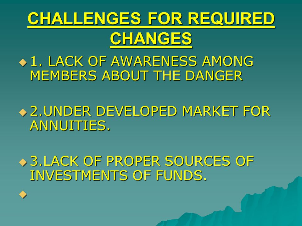 CHALLENGES FOR REQUIRED CHANGES 1. LACK OF AWARENESS AMONG MEMBERS ABOUT THE DANGER 1. LACK OF AWARENESS AMONG MEMBERS ABOUT THE DANGER 2.UNDER DEVELO