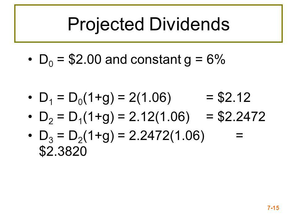 7-15 Projected Dividends D 0 = $2.00 and constant g = 6% D 1 = D 0 (1+g) = 2(1.06) = $2.12 D 2 = D 1 (1+g) = 2.12(1.06) = $2.2472 D 3 = D 2 (1+g) = 2.