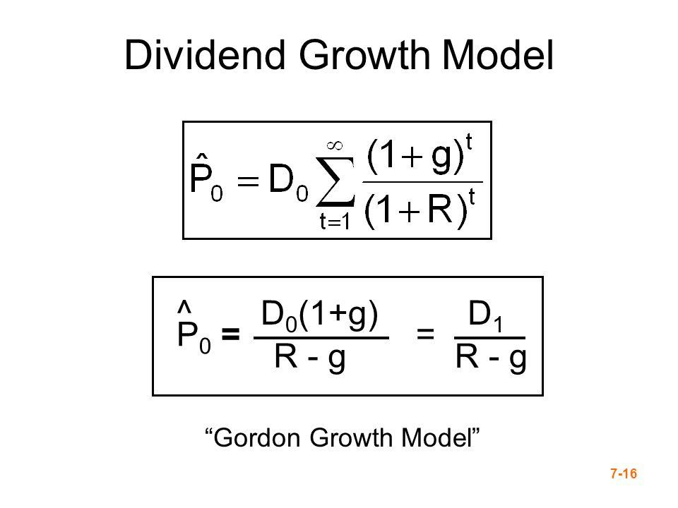 7-16 P 0 = ^D 0 (1+g) R - g = D1D1 Dividend Growth Model Gordon Growth Model