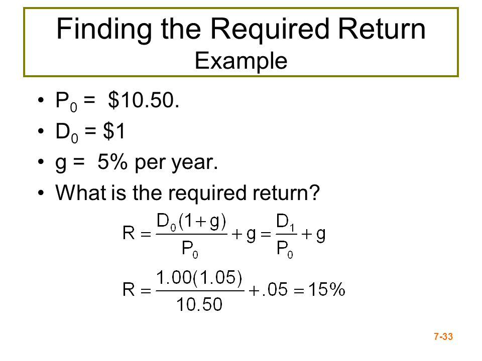 7-33 Finding the Required Return Example P 0 = $10.50. D 0 = $1 g = 5% per year. What is the required return?