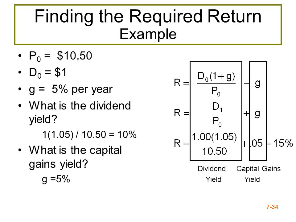 7-34 Finding the Required Return Example P 0 = $10.50 D 0 = $1 g = 5% per year What is the dividend yield? 1(1.05) / 10.50 = 10% What is the capital g