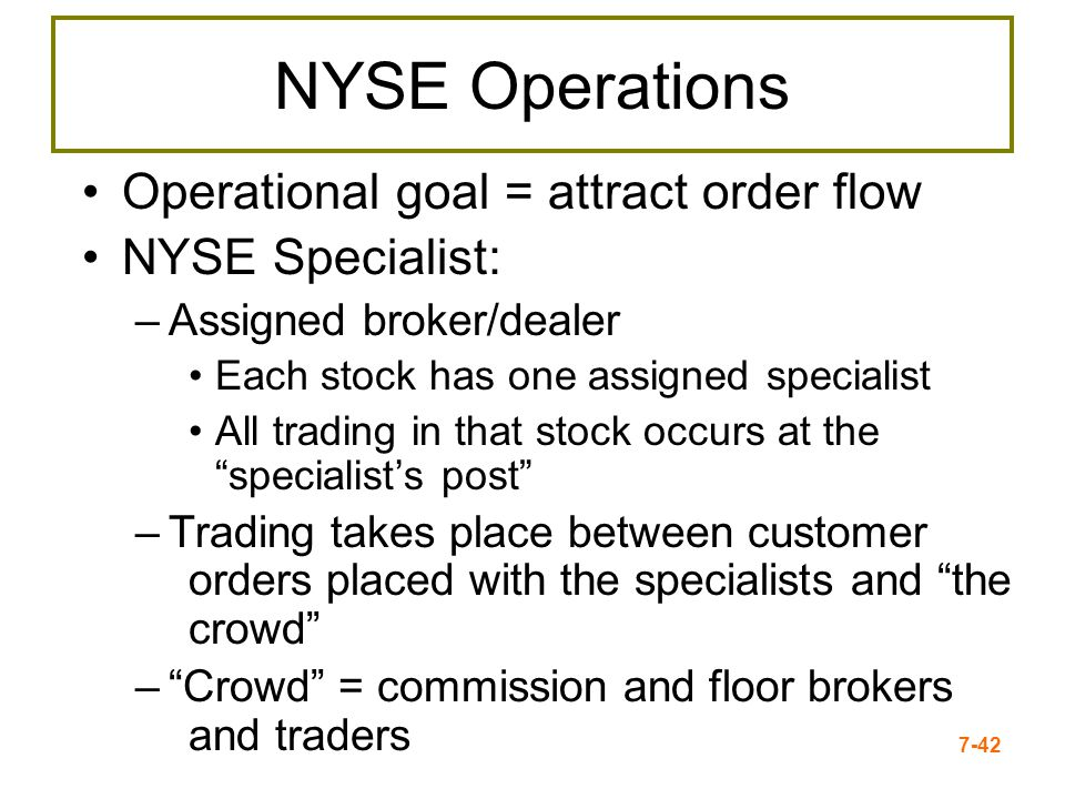 7-42 NYSE Operations Operational goal = attract order flow NYSE Specialist: –Assigned broker/dealer Each stock has one assigned specialist All trading
