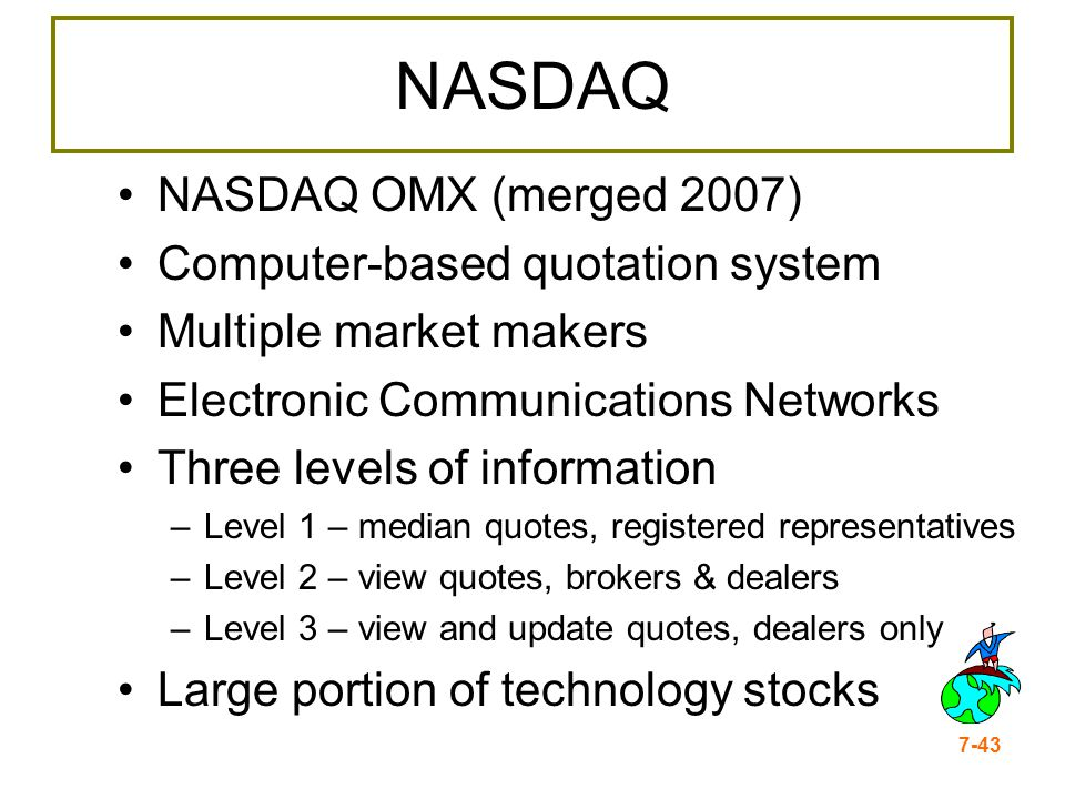 7-43 NASDAQ NASDAQ OMX (merged 2007) Computer-based quotation system Multiple market makers Electronic Communications Networks Three levels of informa