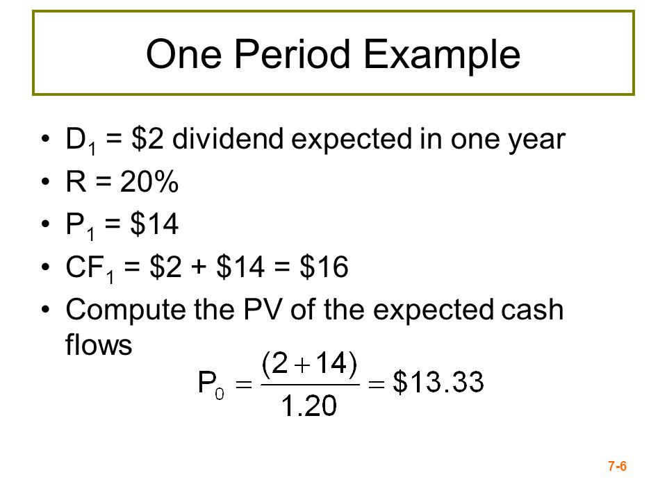 7-27 Nonconstant + Constant growth Basic PV of all Future Dividends Formula Dividend Growth Model
