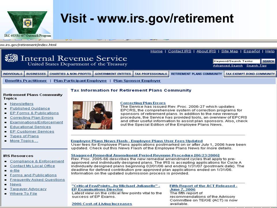 IRC 403(b)/457 Outreach Program Visit - www.irs.gov/retirement