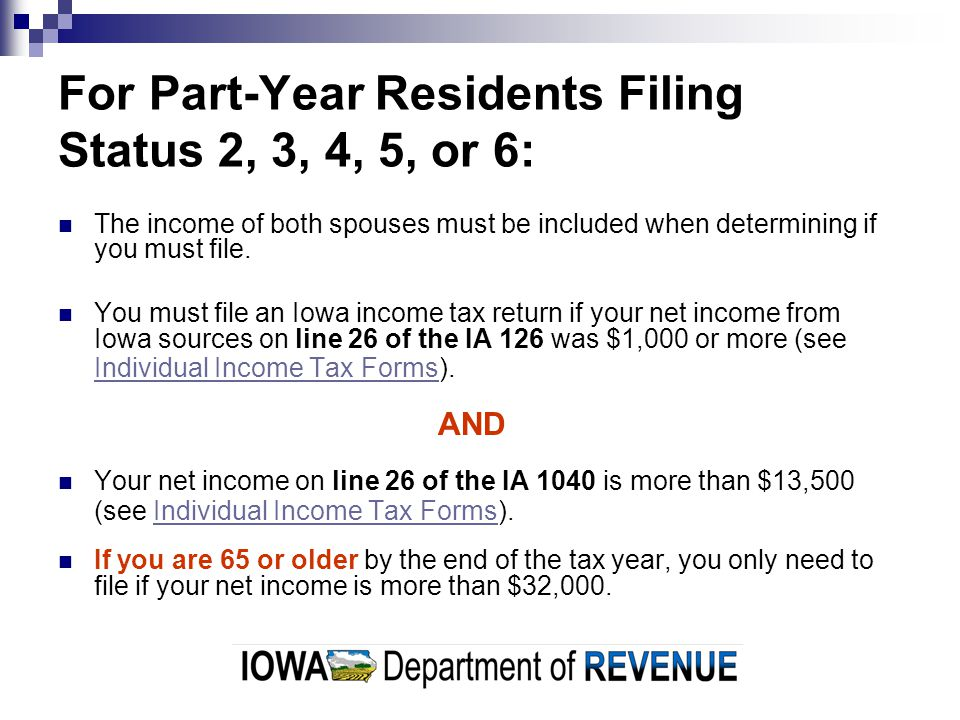 For Part-Year Residents Filing Status 2, 3, 4, 5, or 6: The income of both spouses must be included when determining if you must file.