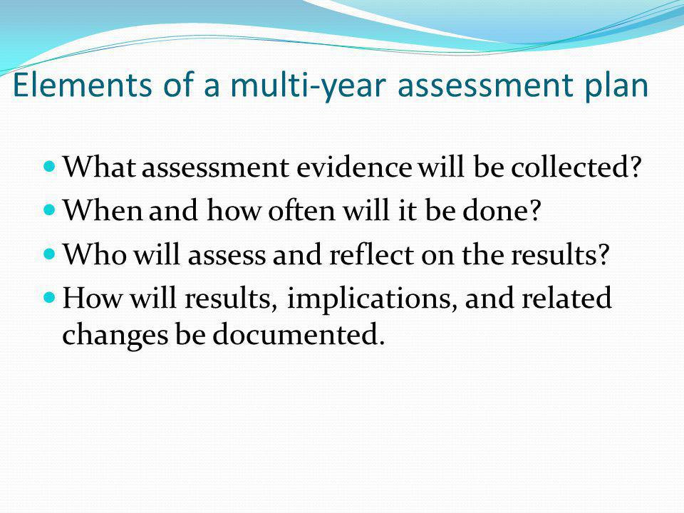 Elements of a multi-year assessment plan What assessment evidence will be collected.