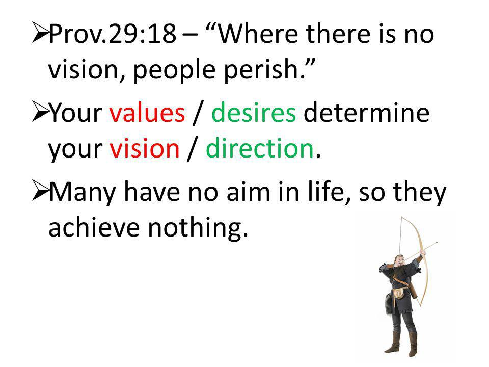 Prov.29:18 – Where there is no vision, people perish.