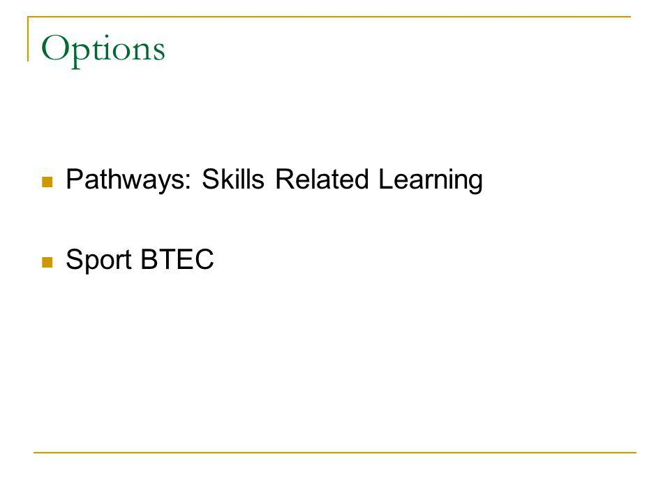 Options Pathways: Skills Related Learning Sport BTEC