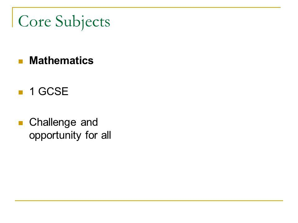Core Subjects Mathematics 1 GCSE Challenge and opportunity for all