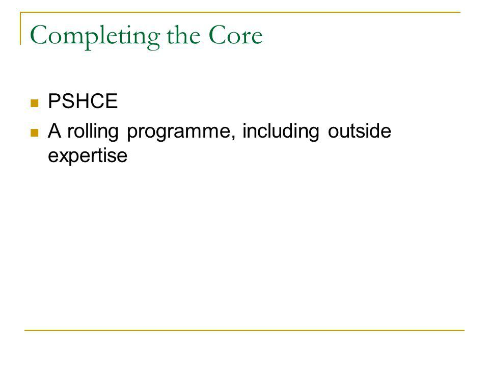 Completing the Core PSHCE A rolling programme, including outside expertise