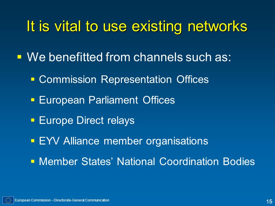 European Commission – Directorate-General Communication 15 It is vital to use existing networks We benefitted from channels such as: Commission Representation Offices European Parliament Offices Europe Direct relays EYV Alliance member organisations Member States National Coordination Bodies