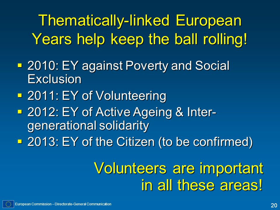 European Commission – Directorate-General Communication 20 Thematically-linked European Years help keep the ball rolling.