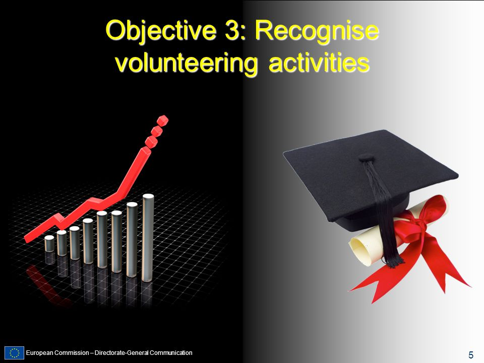 European Commission – Directorate-General Communication 5 Objective 3: Recognise volunteering activities 5