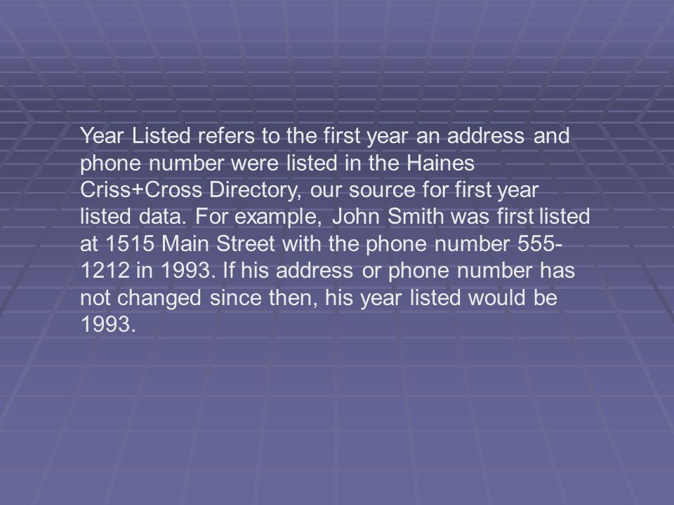 Year Listed refers to the first year an address and phone number were listed in the Haines Criss+Cross Directory, our source for first year listed data.