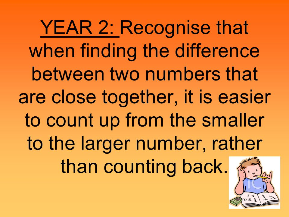 YEAR 1: Find a small difference by counting up.