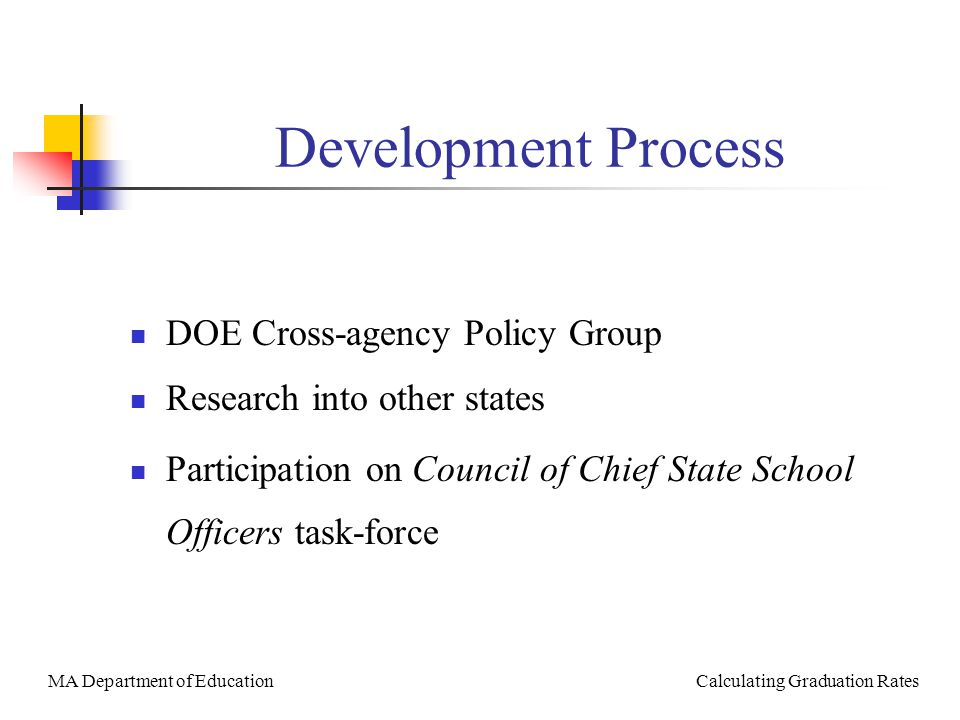 MA Department of Education Calculating Graduation Rates Development Process DOE Cross-agency Policy Group Research into other states Participation on Council of Chief State School Officers task-force