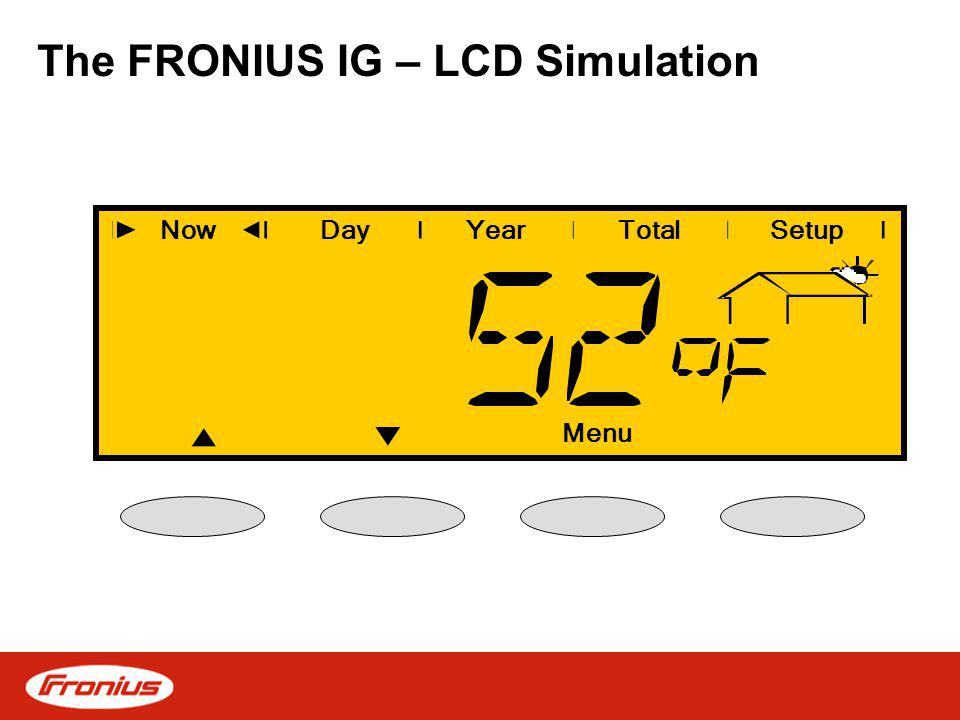 The FRONIUS IG – LCD Simulation NowDayYearSetup Menu Total