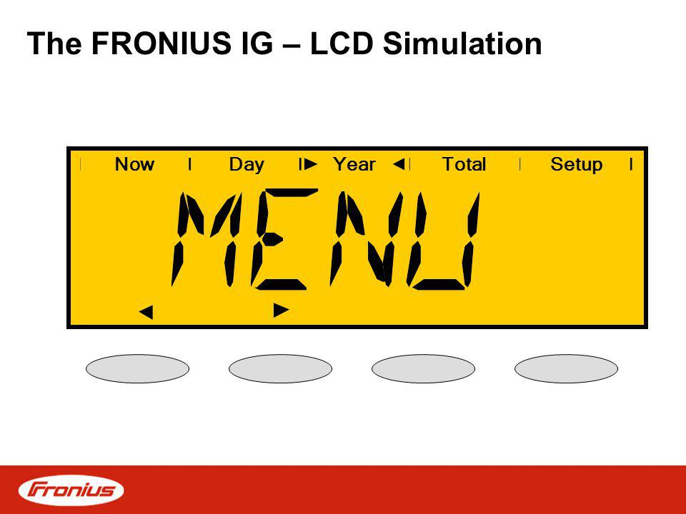 The FRONIUS IG – LCD Simulation NowDayYearSetupTotal